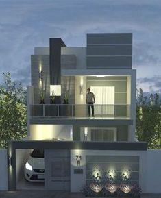 Bungalow House Design, House Front Design, Small House Design, Modern House Design, Home Design Plans, Plan Design, Modern House Plans, Facade House, Architecture Plan