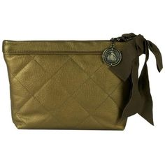 Pre-owned Lanvin Amalia Metal Lambskin Quilted Pouch Gold/pewter... ($384) ❤ liked on Polyvore featuring bags, handbags, clutches, pre owned handbags, zip pouch, pewter handbag, brown purse and quilted handbags