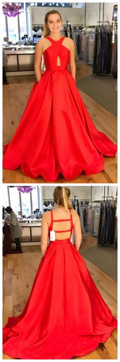 prom dress, red prom dress, long prom dress with pockets, red ball gown, graduation dress,satin prom dresses P1727