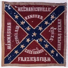 This flag, adorned with the battle honors won by the unit, was captured at the Battle of Gettysburg by Captain Morris Brown Jr. of the 126th New York Infantry.