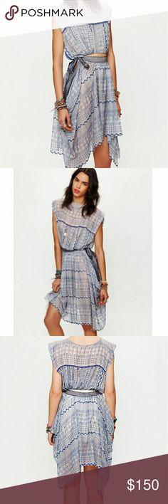 Free People New Romantics Geo Embroidered Dress Never worn. asymmetric hem. Tie side. Free People Dresses Asymmetrical