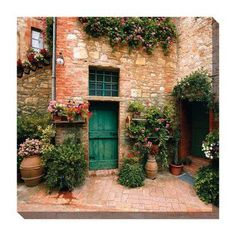West of the Wind Toscano Courtyard Outdoor Canvas Art - 24 x 24 in. - 78832-24