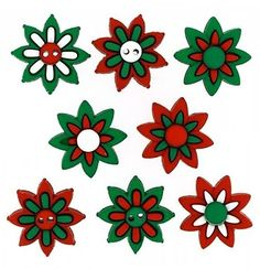 Fancy and Decorative {20mm w/ Two Holes and 2mm Back Hole} 8 Pack of Large Size Mix of 'Flat and Shank' Sewing and Craft Buttons Made of Acrylic Resin w/ Simple Poinsettia Christmas Flower {White Red and Green} ** See this great item.