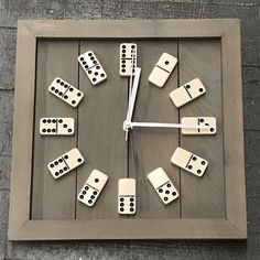 Repurposed, square clock with a handcrafted wooden frame and actual game board domino's featured for clock numbers. Clock hands are metal. Clock measures about square. Clock takes AA battery not included. Colors may vary slightly from image, ea Pot Mason Diy, Mason Jar Crafts, Diy Wall Shelves, Floating Shelves Diy, Wood Projects, Projects To Try, Diy Home Decor, Diy And Crafts, Easy Diy