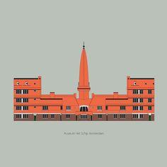 Flirten met*5 Het Schip Ik heb een bijzondere liefde voor de Amsterdamse school. Bijna alle gebouwen die ik tot nu toe heb getekend, zijn gebouwd rond 1910.Wat mij betreft is dit de laatste periode in de geschiedenis van de architectuur waarin we echt de 'ruimte namen'. Voor- en tijdens het tekenen lees ik over het gebouw en bekijk ik foto's uit die tijd. Nu heb ik Het Schip getekend. Het museum en daarmee het ook het centrum van de Amsterdamse school. Amsterdam, Drawing, Studio, Drawings, Studios, Paint, Draw