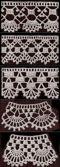 If you looking for a great border for either your crochet or knitting project, check this interesting pattern out. When you see the tutorial you will see that you will use both the knitting needle and crochet hook to work on the the wavy border. Crochet Edging Patterns, Crochet Lace Edging, Crochet Borders, Crochet Trim, Love Crochet, Diy Crochet, Crochet Designs, Crochet Doilies, Crochet Flowers
