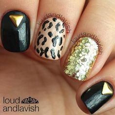 New Year's Eve nails by New Years Eve Nails, Plain Nails, Nail Polish Art, Art Nails, Studded Nails, Sexy Nails, Nail Envy, Gold Nails, Perfect Nails
