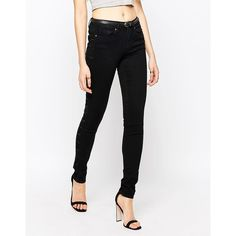Vero Moda Seven Skinny Jeans ($46) ❤ liked on Polyvore featuring jeans, black, vero moda, cut skinny jeans, vero moda jeans, denim skinny jeans and skinny fit jeans