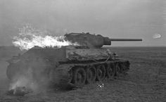 A burning T-34/76, somewhere on the Eastern Front. Pin by Paolo Marzioli