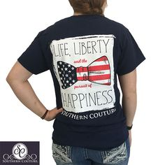 Southern Couture Preppy USA Liberty Bow T-Shirt Available in sizes- S,M,L,XL,2X,3X