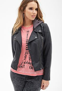Hooded Moto Jacket | FOREVER 21 - 2000066785