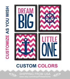 pink and navy nautical baby girl nursery dream big quote nautical girl decor girls gift ideas anchor wheel playroom art nautical girls room by PinkeeHome