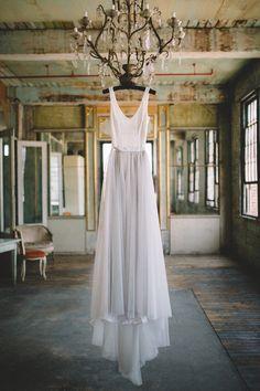 Gray wedding dress, tulle skirt, ivory bodice, ballerina straps // Sam Stroud Photography