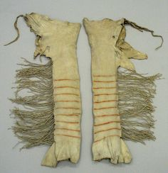 Yanktonai Sioux, Native American. Pair of Red and Brown Striped Leggings for Chief's Dress, early 19th century. Buckskin, pigment, sinew, Each: 37in. (94cm). Brooklyn Museum, Henry L. Batterman Fund and the Frank Sherman Benson Fund, 50.67.3b-c. Creative Commons-BY (Photo: Brooklyn Museum, CUR.50.67.3b-c_view1.jpg)