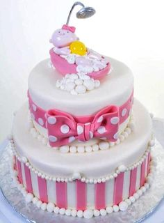 Pastry Palace Las Vegas - Baby Shower Cake #1118 – Girly Stripes & Bows