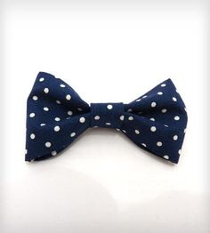 Navy Blue Polka Dot Bow Tie Boutonniere Pin. $20