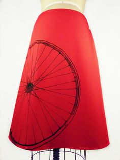 Red A-Line Bicycle Print Skirt. $49.00, via Etsy.