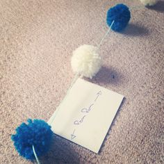 I'm making wool Pom Pom garlands as decorations for various part of the venue...I bought x4 Pom Pom makers for just a couple of pounds & used the smallest for these! I have loved doing this task it's simple & makes an effective decoration! I made a simple guide to space my Pom poms evenly when I threaded them! (I have made nice pink & pastel shade ones for my little girls room too!) #wedding #DIY