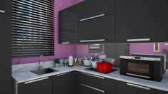Roomstyler.com - Small kitchen with purple and black colours