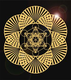 Metatron's cube set within the seed of life, the shape which when continued in the same way creates the Flower of life, from which Metatrons cube can be formed. Metatrons cube contains all 5 ot the Platonic solids in 2D form.