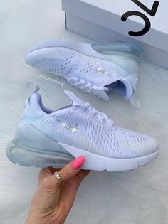 Women's Nike Shoes Air 270 Customized With Swarovski Crystals Bling Nike Shoes White Swarovski Nike Womens Girls Air 270 Customized With Swarovski Bling Nike Shoes, Cute Nike Shoes, Cute Nikes, Cute Sneakers, Nike Air Shoes, Women's Shoes, Shoes Sneakers, Shoes Style, Flat Shoes