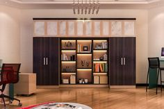 Custom Shaker Style Bedroom Wall Unit Features A Built In