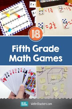 Help your fifth grade math students learn fractions, decimals, volume, coordinate planes, and more with these free and fun math games. Easy Math Games, Printable Math Games, Free Math Games, Math Card Games, Kindergarten Math Games, Math Games For Kids, Maths, Fraction Games, Math Math
