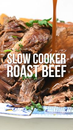This Slow Cooker Beef will be become your favourite Sunday Roast incredibly tender slow cooked beef in a rich gravy. for flavour and almost zero effort! This recipe is gluten free and suitable for weight loss plans like Slimming World and Weight Watchers. Crock Pot Recipes, Roast Beef Recipes, Slow Cooker Recipes, Cooking Recipes, Gluten Free Recipes Beef, Slow Cooked Beef, Crock Pot Slow Cooker, Crock Pot Roast Beef, Brisket In Crock Pot