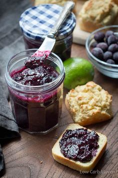 A tangy sugar-free blueberry jam thickened with chia seeds and flavored with lime. This no pectin jam is delicious and perfect for any low carb keto diet.