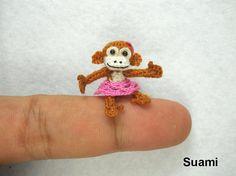 Tiny Monkey With Skirt   Mini Micro Dollhouse Crochet by suami, $62.00