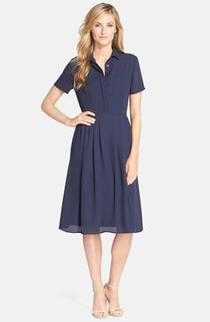 KUT from the Kloth Navy Chiffon Shirtdress - professional fashion - office style #commandress