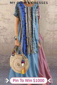Cheap best O-NEWE Bohemian Print Patchwork Layers Summer Plus Size Maxi Dress on Newchic, there is always a plus size print dresse suits you! Comfy Dresses, Plus Size Maxi Dresses, Casual Dresses, Dresses For Work, Ladies Dresses, Dresses Dresses, Fashion Dresses, Maxi Dress With Sleeves, Short Sleeve Dresses