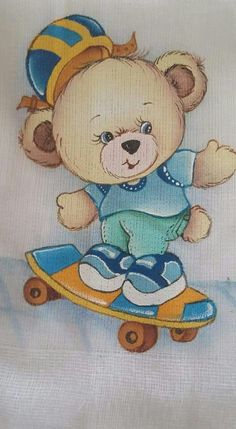Ursinho Animal Drawings, Cute Drawings, Clip Art Pictures, Baby Clip Art, Cute Paintings, Paint Cards, Baby Drawing, Bear Cartoon, Christmas Embroidery