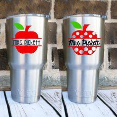 Apple Name Decal - Teacher Apple Decal - Teacher Monogram - Back to School Gift…