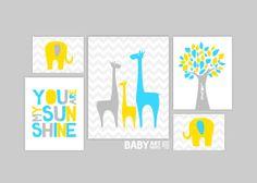Nursery art prints Set of 5 Family Elephants by babyartprints, $45.00