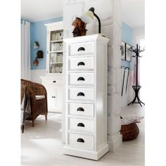 Whitehaven White Painted Chic Tall 7 Drawer Wellington Chest
