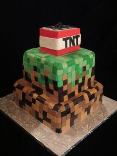 A cake I made for an 11 year-olds birthday! Minecraft themed!  www.stephaniesweetooth.com