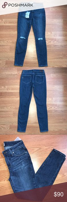 """NWT Paige Verdugo Skinny Destructed Jeans 28 Precise shredding lends cool-girl character to dark wash skinny jeans cut in an ankle-grazing length. This style is crafted from supersoft brushed denim, which boasts exceptional comfort and flexibility. MSRP $208. Made in USA  Sz 28 Waist: 14"""" Inseam: 27"""" Paige Jeans Jeans Ankle & Cropped"""