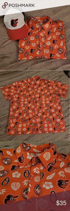 Baltimore Orioles 2018 Hawaiian Button-up T-shirt Hey Birdland fans! Brand new, untagged, authentic Baltimore Orioles Hawaiian shirt (game, 6/30/18). 2 available in size M, unisex fit. I've listed one under women and one under men so they are searchable both ways!  Need more info? Please ask! Smoke free home.   Bundle and save! All items ship in 1-3 days. Elevin Group Shirts