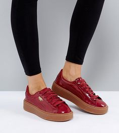 Puma Patent Basket Platform Sneakers With Gum Sole In Burgundy - Red