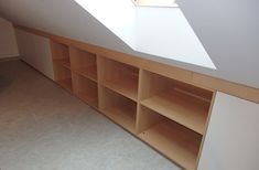Style At Home, Loft Storage, Slanted Walls, Home Fashion, House Design, Shelves, Bedroom, House Styles, Interior