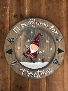 Nothing says Christmas like a dancing gnome, right? This plate can be used strictly as a decoration Silver Christmas Decorations, Santa Decorations, Christmas Plates, Christmas Gnome, Christmas Signs, Christmas Wreaths, Christmas Crafts, Christmas Bulbs, Fireplace Decorations