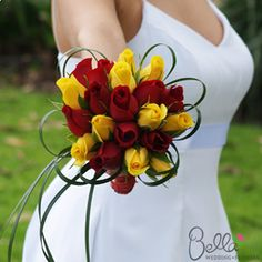red n yellow bouquet roses