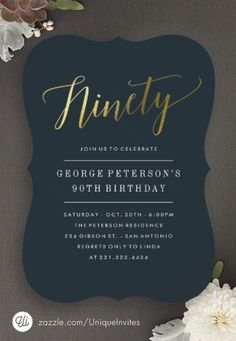 90th Birthday Invitations - Formal Faux Gold - Adult Birthday Party Invitations