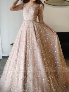 Glittery Champagne Sequin Prom Dresses with Long Sleeves – Viniodress . - Glittery Champagne Sequin Prom Dresses with Long Sleeves – Viniodress Source by Sequin Prom Dresses, Prom Dresses Long With Sleeves, Party Wear Dresses, Beaded Dresses, Sequin Dress With Sleeves, Wedding Dresses, Quinceanera Dresses, Evening Gown With Sleeves, Long Fancy Dresses