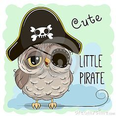 Little Owl Pirate stock vector. Illustration of cartoon - 78262388 Owl Cartoon, Cute Cartoon, Pirate Hats, Little Owl, Owl Art, Owls, Bedding, Stickers, Quilts
