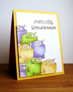 Monster Birthday Wishes by Karen B - Paper Smooches -