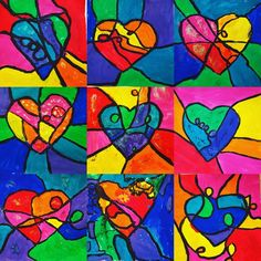 Jim Dine inspired hearts! A study of warm and cool colors.  #3rdgrade #GBartroom @artolazzi