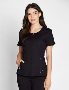 The Hidden Zipper Top in Black is a contemporary addition to women& medical scrub outfits. Shop Jaanuu for scrubs, lab coats and other medical apparel. Scrubs Outfit, Scrubs Uniform, Medical Uniforms, Nursing Uniforms, Black Scrubs, Lab Coats, Uniform Design, Medical Scrubs, Business Fashion