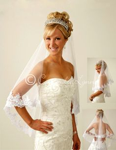 Two tier flower lace wedding veil